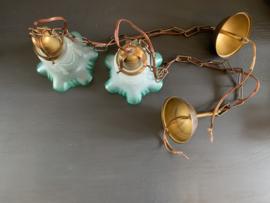 Set hanglampjes wit|groen matglas