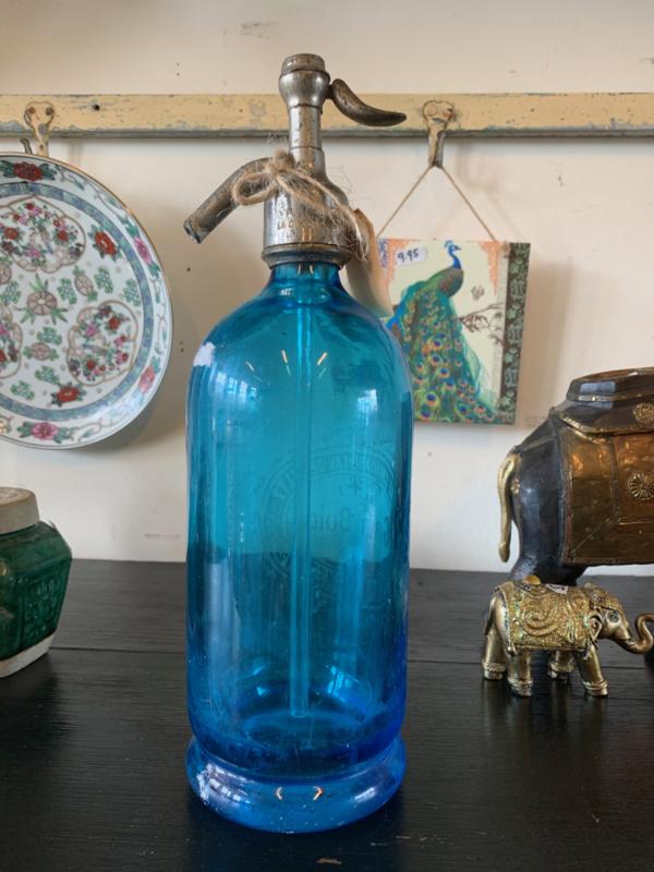 Sifon   spuitfles blauw glas