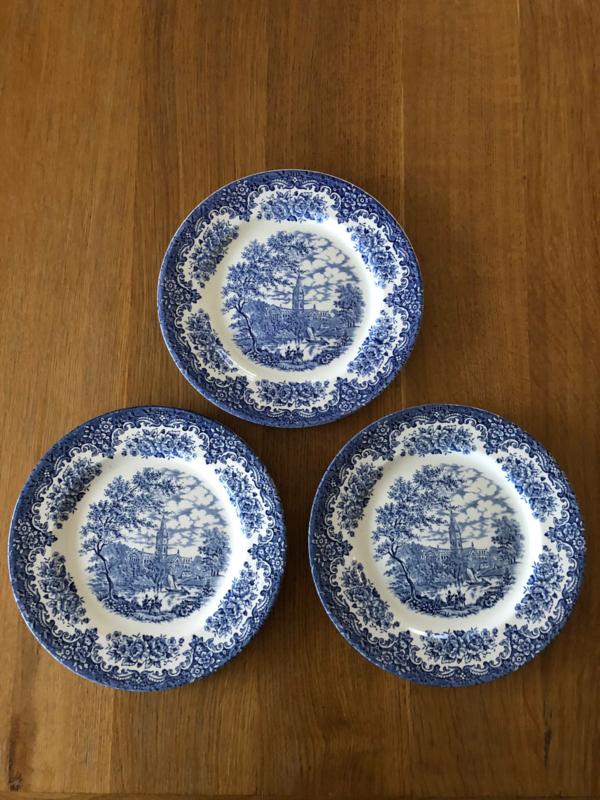 Servies Borden Set.Set Van 3 Platte Borden Van Ironstone Blauw Decor Servies Keuken