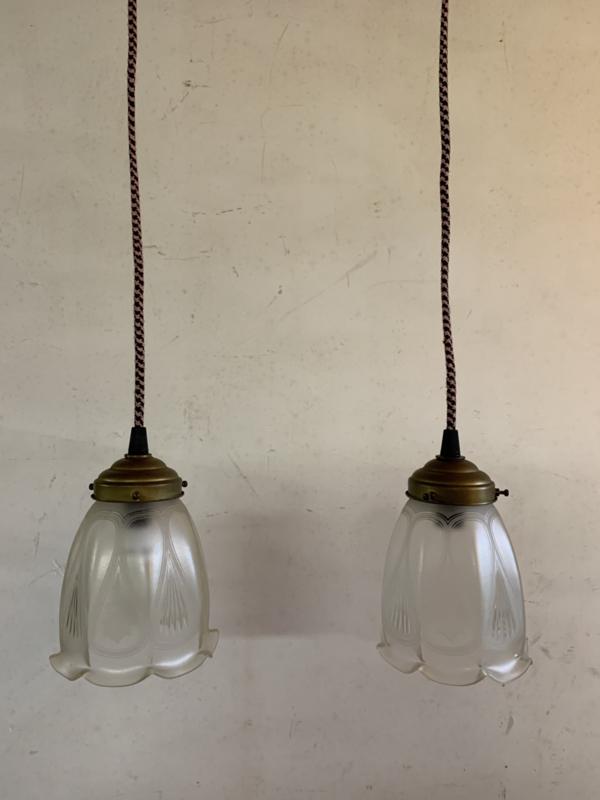 Set hanglampjes gedecoreerd matglas
