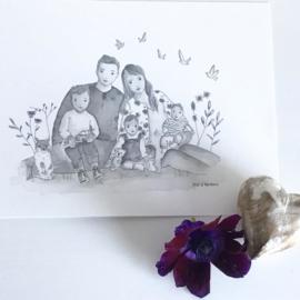 Gezinsillustratie (grijs aquarel)