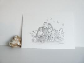 Portret Illustratie Aquarel (Grijs tinten)