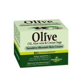 Gezicht crème voor gevoelige gevlekte huid, Olijfolie, Aloë Vera & Salie 50ml
