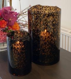 Dekocandle - Vase organic rim spotted (leopard glass) Large