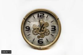 Koperen klok met open uurwerk