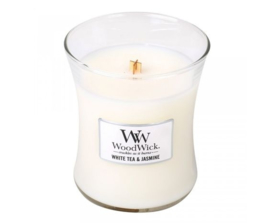 Woodwick Medium Candle - White Tea & Jasmine