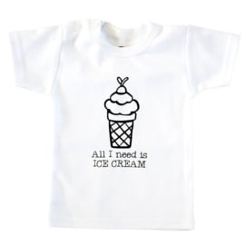 Baby- en kindershirt | All I need is ice cream