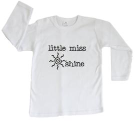 Baby- en kindershirt | Little miss sunshine (maat 98, wit, lange mouw)