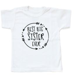 Baby- en kindershirt | Best big sister ever (maat 80, wit, korte mouw)