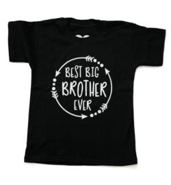 Baby- en kindershirt | Best big brother ever (maat 74, zwart, korte mouw)
