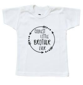 Baby- en kindershirt | Coolest little brother ever (maat 56, zwart, korte mouw)