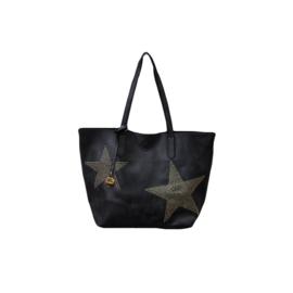 Shopper zwart met sterren goud/brons kleurig