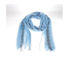 Sjaal blauw/ Zwarte print