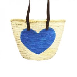 Rieten tas wit met blauw hart