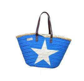 Rieten tas blauw met ster