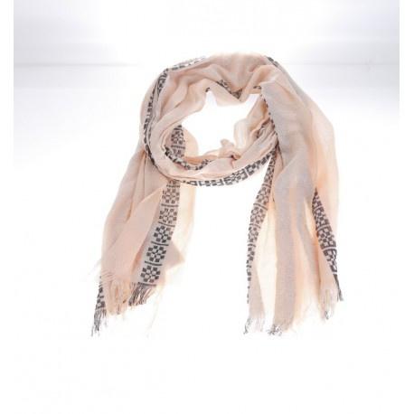 Sjaal zacht roze/ Zwarte print