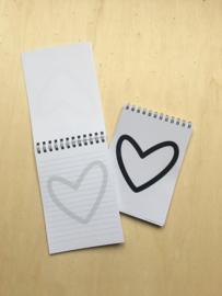 Schrijfblokje hart groot