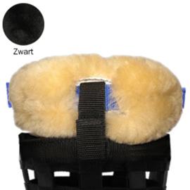 Merino schapenvacht neus en kin beschermer voor losse graaskorf - Zwart