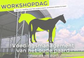 5 Januari 2019 - Workshopdag: 'Voedingsmanagement van het oude paard - Door dik en dun'.
