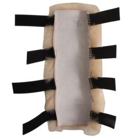 Merino schapenvacht neus en kin beschermer voor graasmasker - Zwart