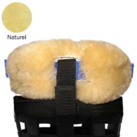 Merino schapenvacht neus en kin beschermer voor losse graaskorf - Naturel