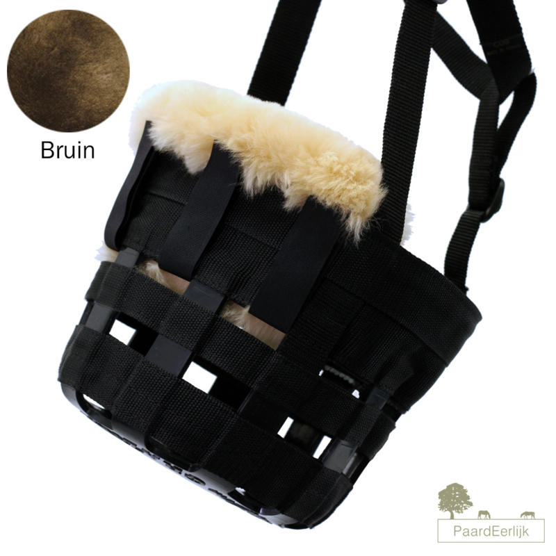 Merino schapenvacht neus en kin beschermer voor graasmasker - Bruin