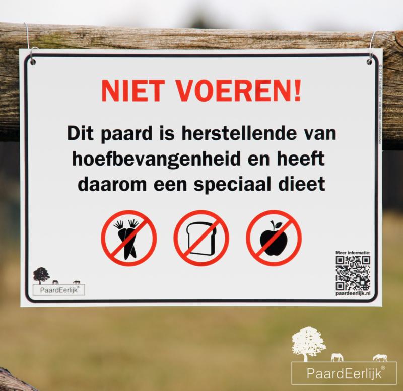 Informatiebord 'Niet Voeren!' - Hoefbevangenheid