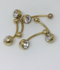 Jeweled Navel 1.6 x 14mm Crystal steen per 5 stuks
