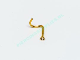 Gold Colored neuspiercing 2 mm steentje