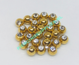 Gold Colored Jeweled ball screw on diverse maten