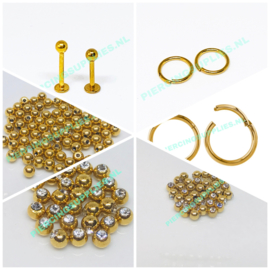 Gold Colored Steel Piercings