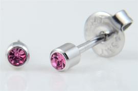 Schietoorbel Roze steentje 3mm