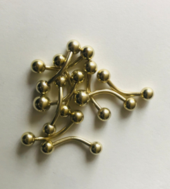 Gold Navel (Curved BB) 1.6 x 12mm per 10 stuks