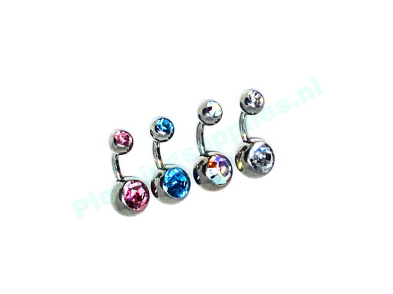 Double jeweled navel 1.6 x 8 mm