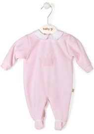 Velour babygrow pink Little Crown with collar