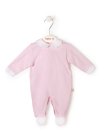 Velours babygrow pink with piqué collar