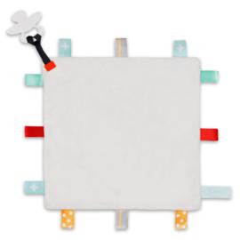 Labeldoekje speen wit, 100% polyester 24x24 cm