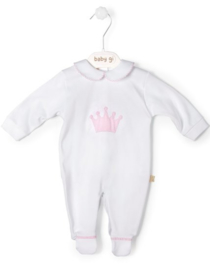 Velour babygrow Little Crown - big pink crown
