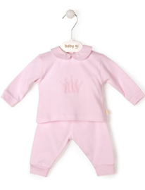 Velour babygrow Little Crown: set of 2 - pink