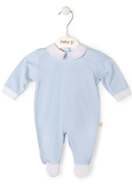 Velours babygrow blue with piqué collar