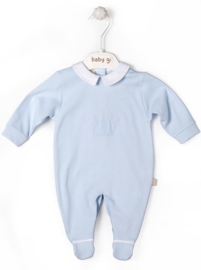Velour babygrow blue Little Crown with collar