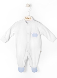 Velour babygrow Little Crown - small blue crown