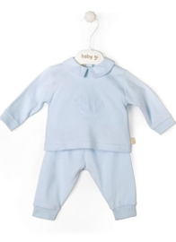 Velour babygrow Little Crown: set of 2 - blue