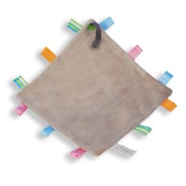 Labeldoekje speen grijs, 100% polyester 24x24 cm