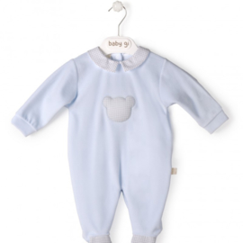 Velour babygrow blue Little Teddy with teddy - vichy