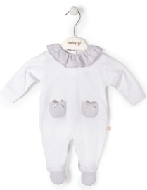 Cotton babygrow Little Teddy with collar & pockets - vichy