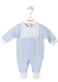 Velours babygrow blue with bib