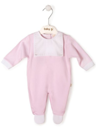 Velours babygrow pink with bib