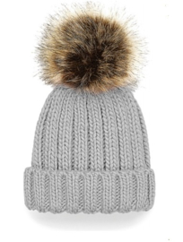 Baby/kinder beanie met pompon - light Grey