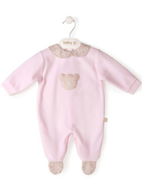 Velour babygrow pink Little Teddy with teddy - flowers